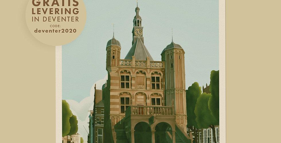 Deventer - De Waag Vintage Stadsposter v.a.