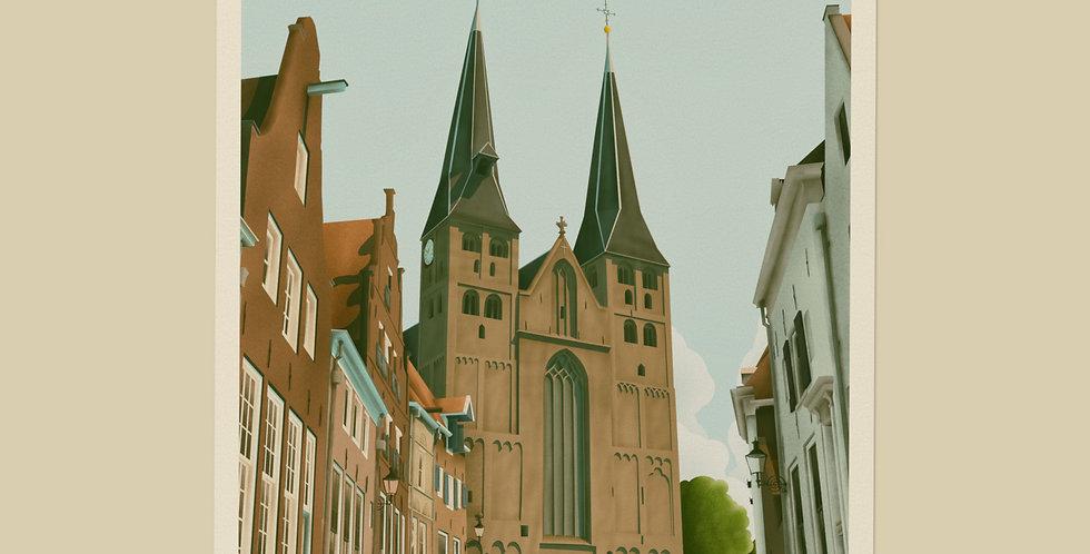 Deventer - De Bergkerk Vintage Stadsposter v.a.