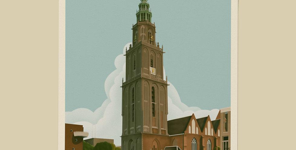Groningen Vintage Stadsposter v.a.