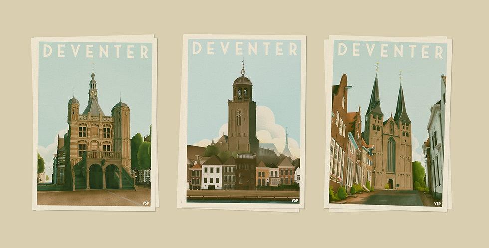 Deventer - Drieluik Ansichtkaarten 6 stuks