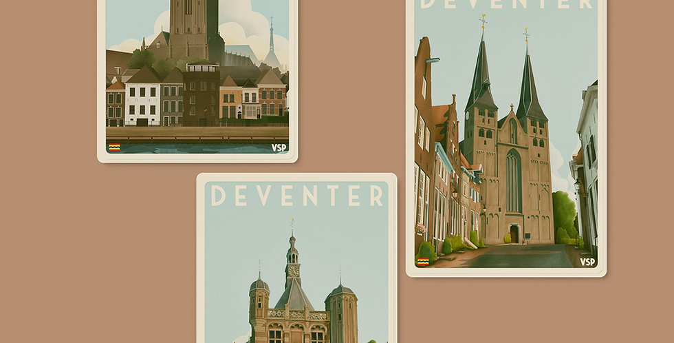 Drieluik koelkastmagneten Deventer