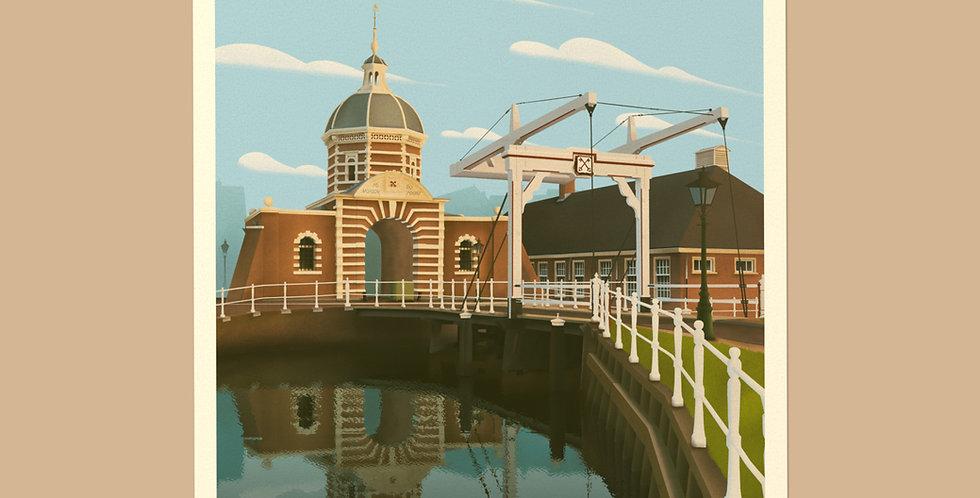 Leiden Vintage Stadsposter v.a.