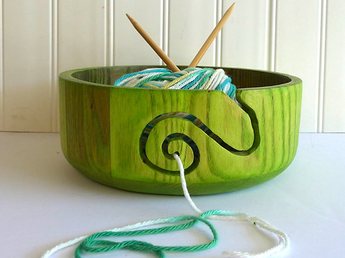 Green Wooden Yarn Bowl - Gift for Knitters - Gift for Crocheters - ALL NEW Color