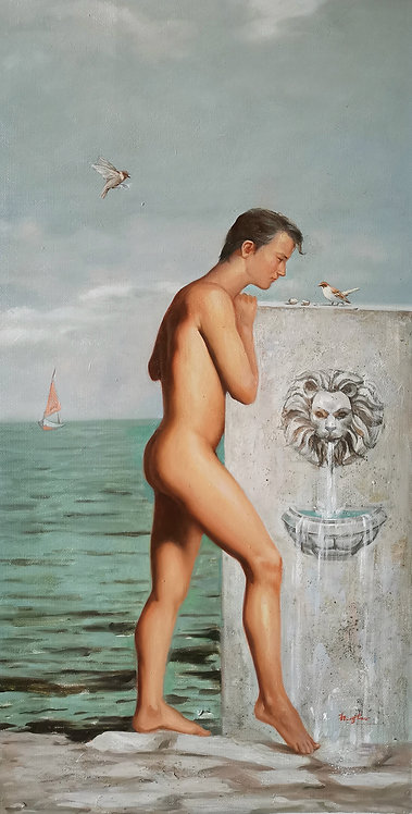 Oil painting-Man and birds