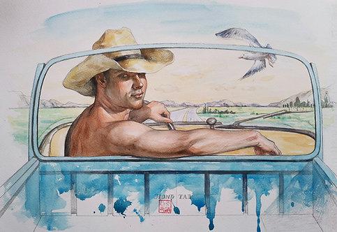 Watercolor-Driving Cowboy