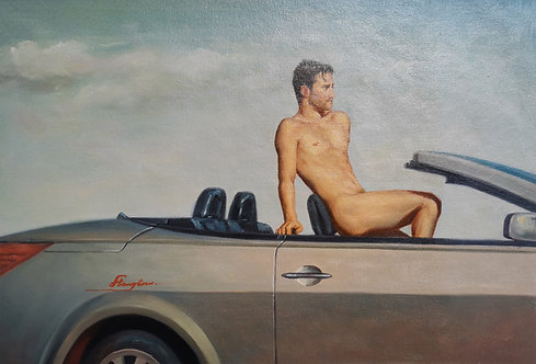 Car and man
