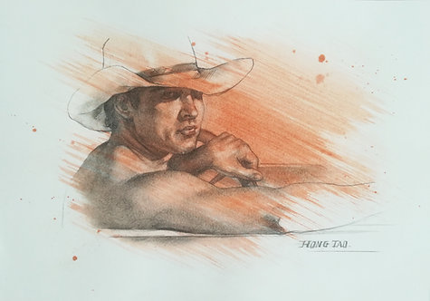 Drawing - Portrait of cowboy