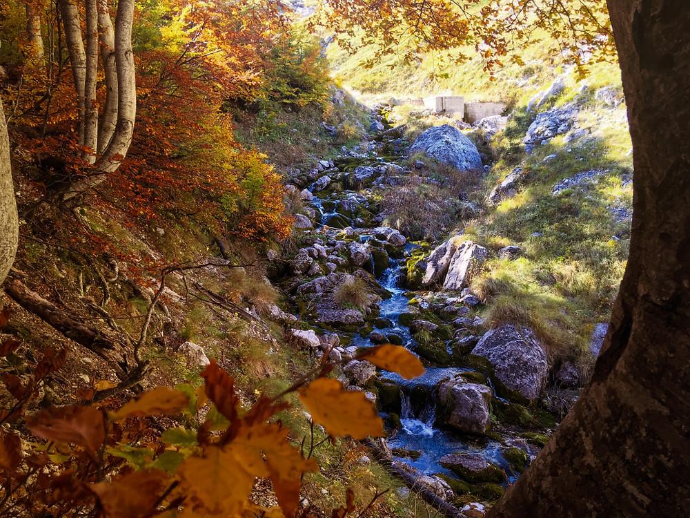 Periodo di foliage in mezzo alla natura. Risaliamo il fiume Arno, Gran Sasso, Abruzzo.