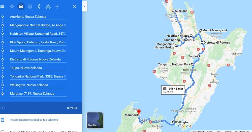 Fermo immagine dell'effettivo tragitto seguito in macchina dal nostro viaggiatore, durante il suo on the road nell'Isola del Nord, in NZ. Ecco tutte le tappe toccate.