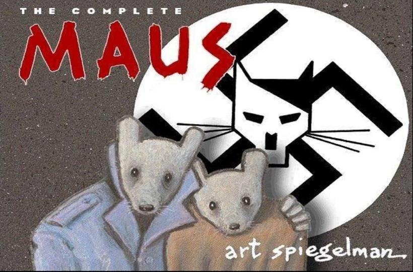 La copertina del fumetto Maus, rappresentate gli ebrei come topi, soggiogati dai gatti, i tedeschi.