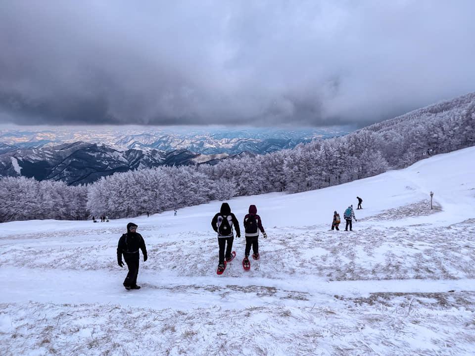 Panoramica sulla Campigna innevata, durante un viaggio di gruppo Inverno 2021