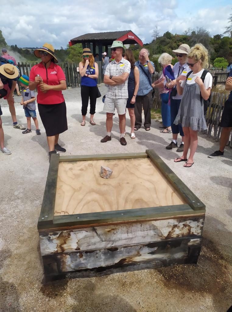 Dimostrazione di come viene cucinato il cibo dai Maori nelle zone ricche di geyser.  PH Gian Marco S.