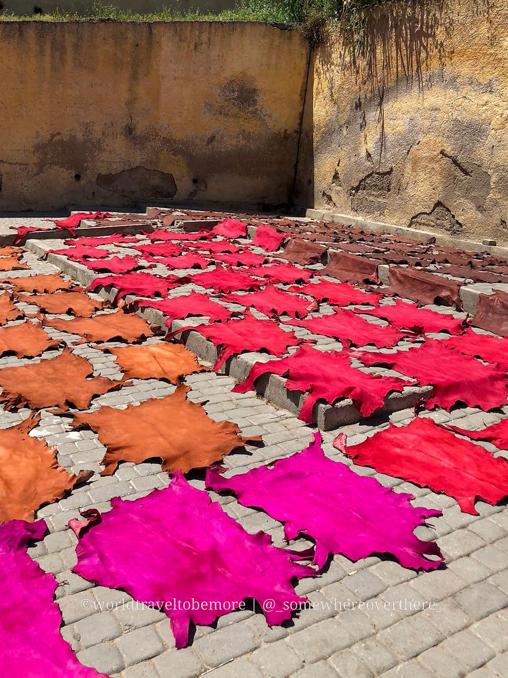Pelli colorate nelle concerie di Fes, Marocco.