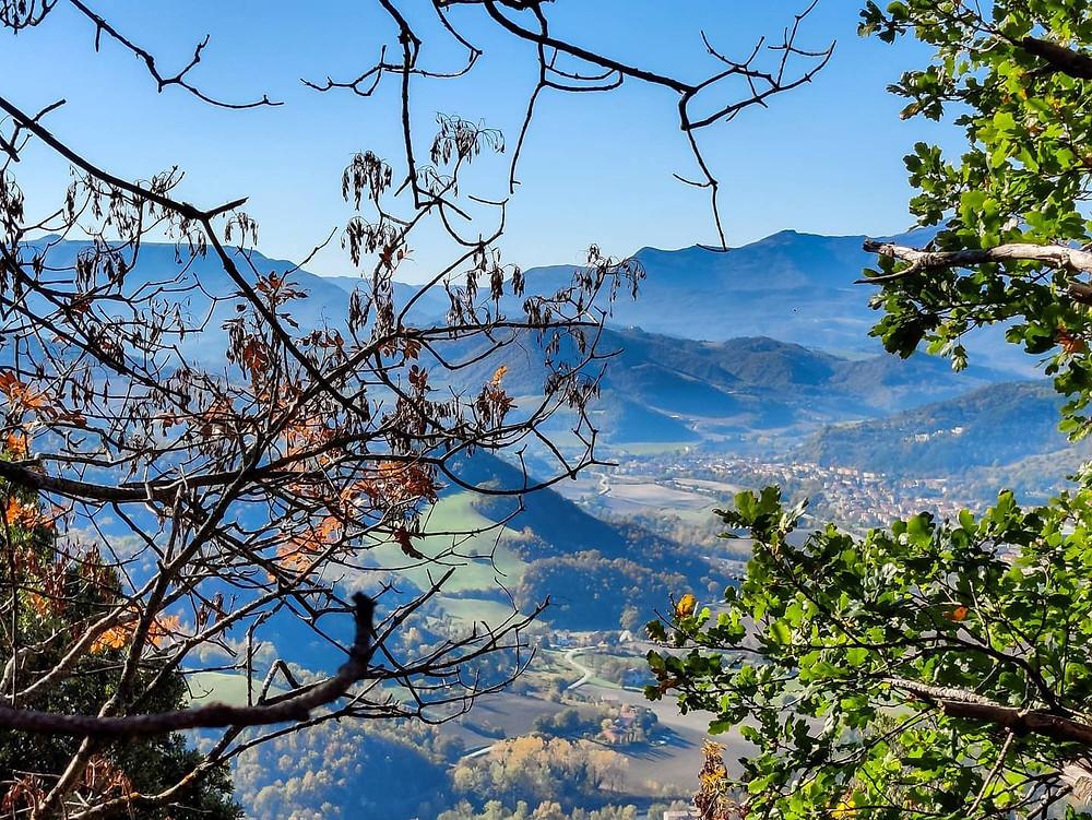 La Nebbia di un mattino di Novembre accarezza le montagne in lontananza donando loro quest'opacità romantica. I rami davanti all'obbiettivo creano la perfetta cornice.