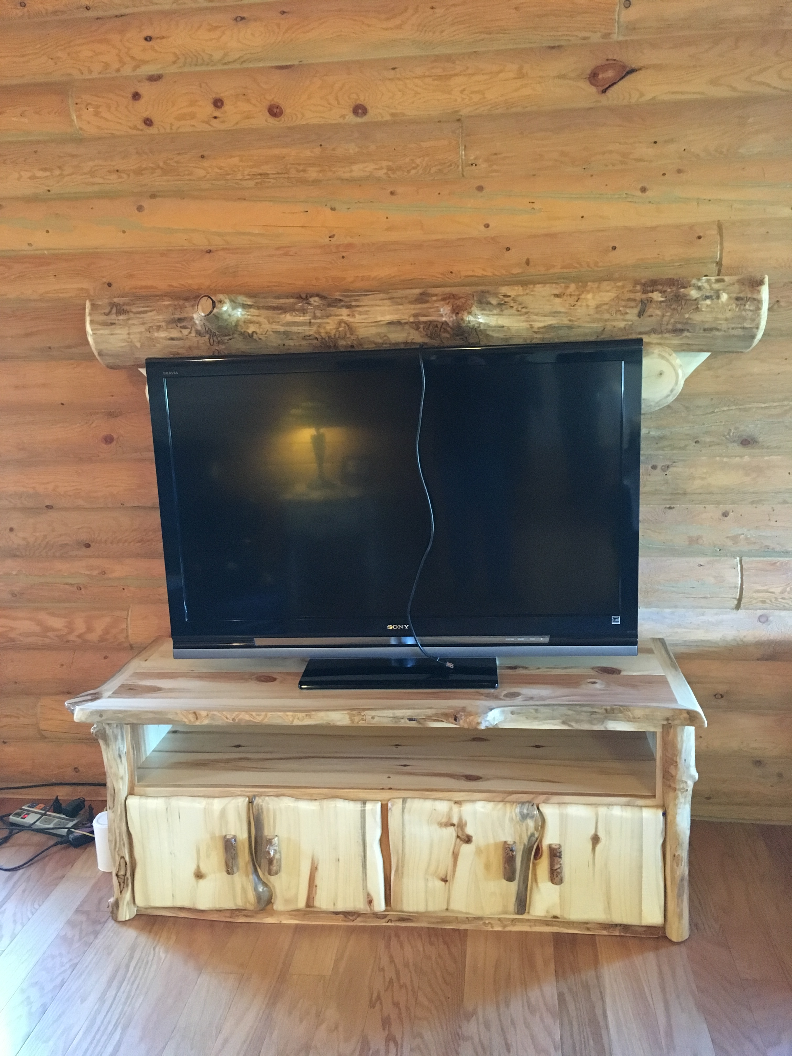 TV console with Log mantel