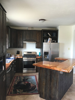 Hand distressed kitchen cabinets