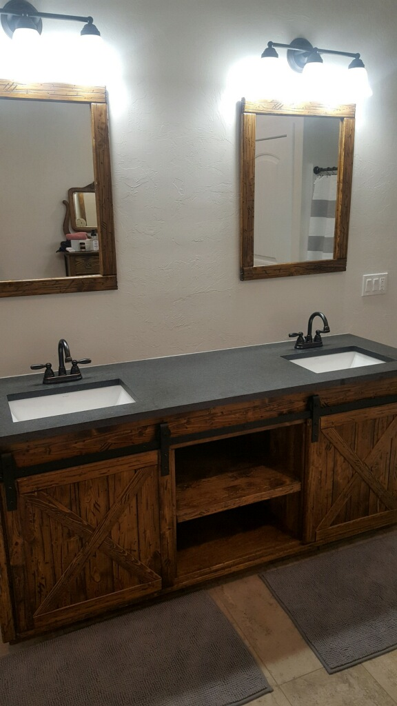 Rustic Dual Vanity and mirrors