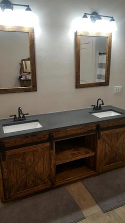 Rustic Dual Vanity and mirrors