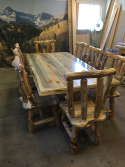 Blue Pine table with chairs