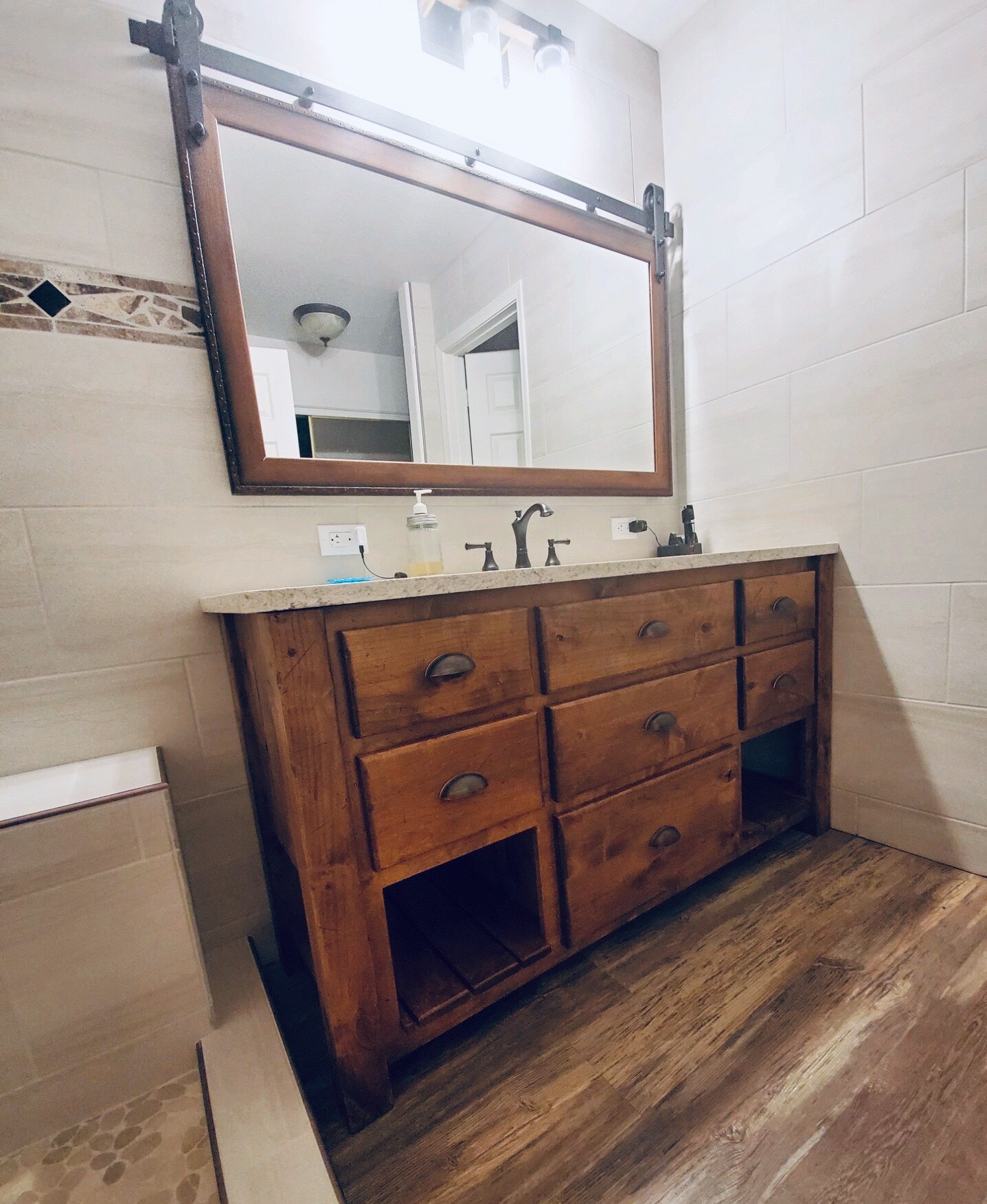 Distressed bathroom vanity