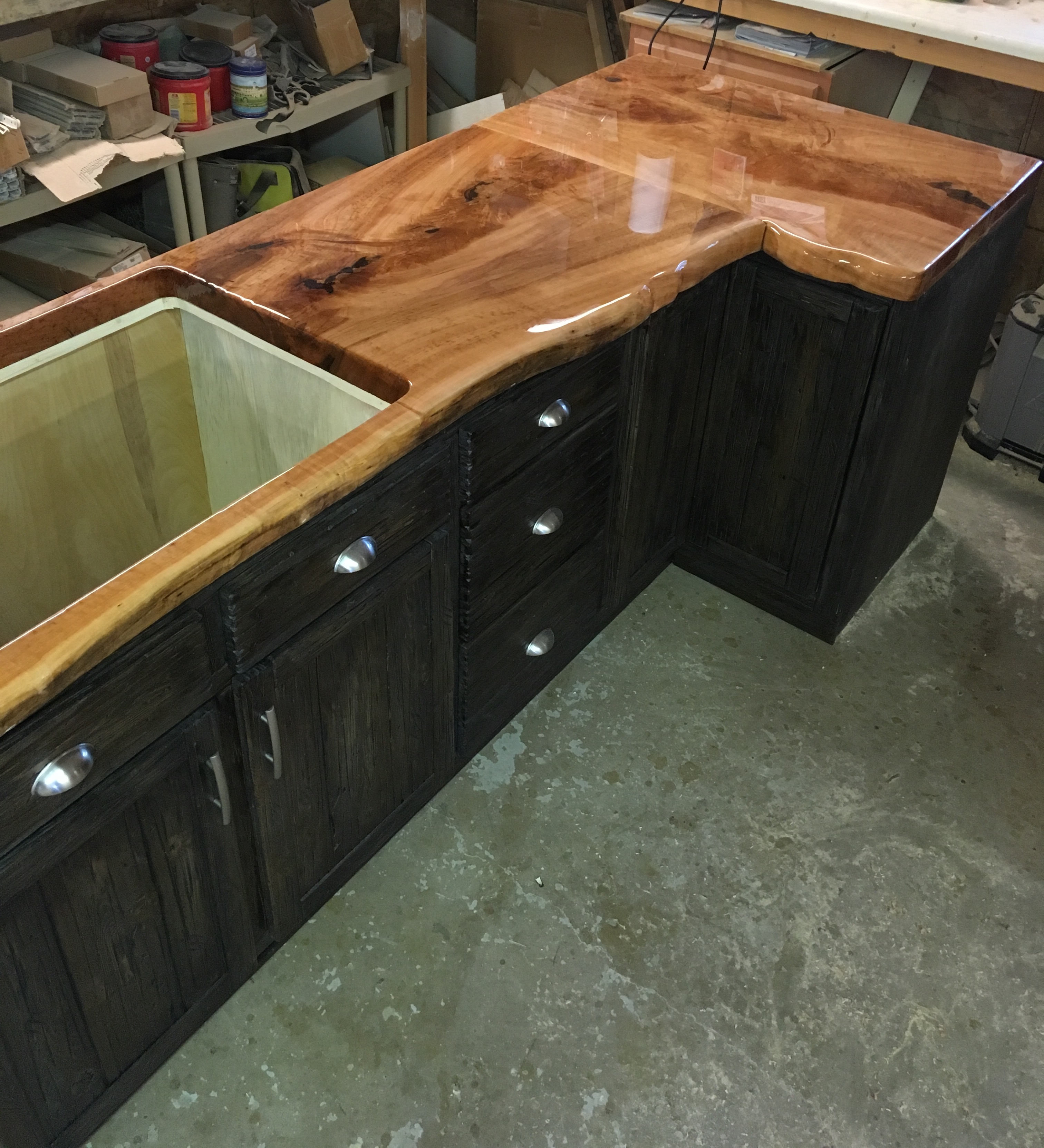 Epoxy poured countertop