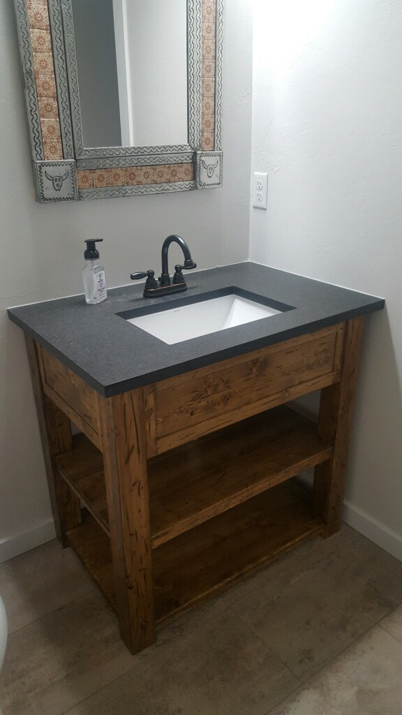 Rustic vanity open shelves