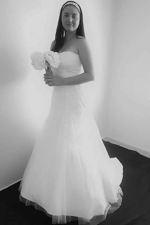 White Lace And Tulle Wedding Dress