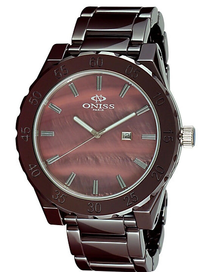 Oniss Grand Brown Dial Brown Ceramic Swiss Quartz Men's Watch