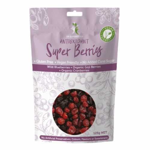 Dried antioxidant super berries blueberries, goji and cranberries 125g