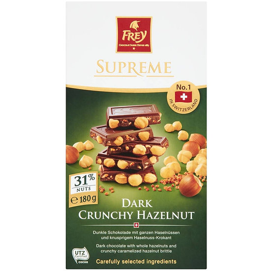 Frey Hazelnut Dark Chocolate 180g block