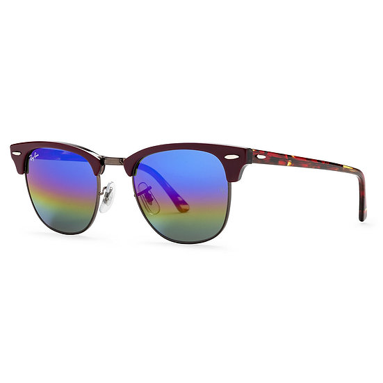 Ray-Ban Clubmaster Mineral Flash Lenses Sunglasses 51 mm Bordeaux; Red Frame