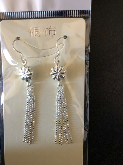 100% genuine 925 Sterling Silver Flower Earing New Fashion Jewellery Gift
