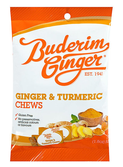 Buderim Ginger & tumeric chews 50g x 2 pieces