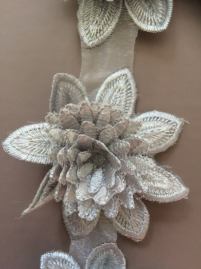 Grey -3D flower appliqué lace Fabric Chiffon Trim Craft Polyester Cotten Cloth