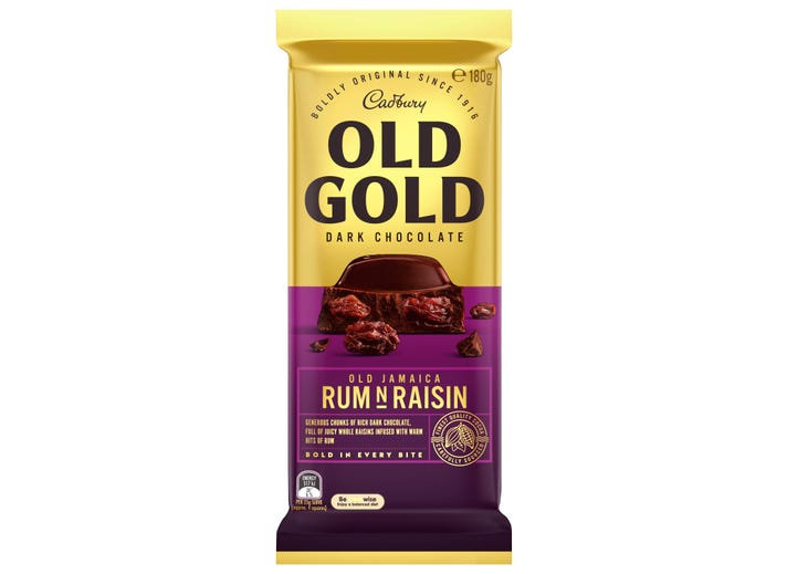 Cadbury Old Gold Dark Chocolate Old Jamaica Rum 'n' Raisin 180g