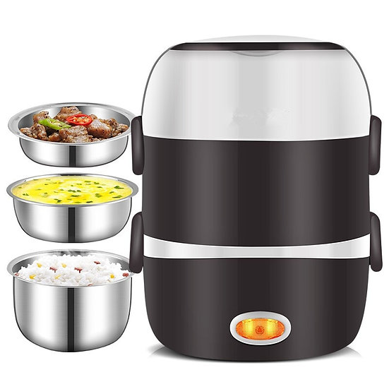 220V Mini Electric Rice Cooker 3 Layers Steamer Stainless Meal Thermal Lunch Box