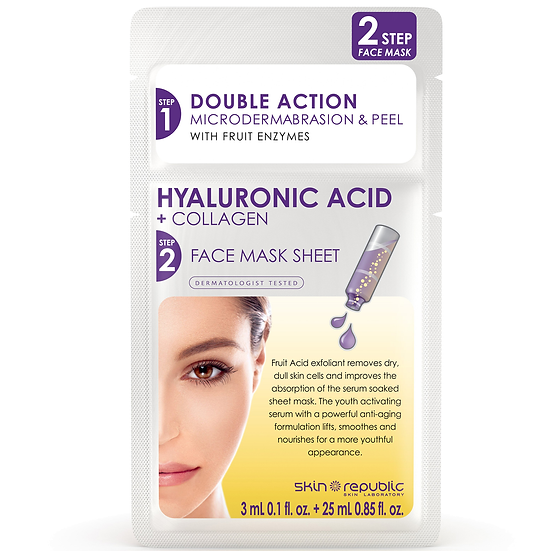 Skin Republic 25ml + 3ml Hyaluronic Acid + Collagen 2 STEP Face Mask Sheet Serum