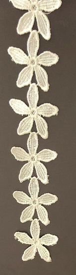 White ~ Embroidered Lace Trim Wedding Dress Ribbon Applique Sewing Craft Fabric