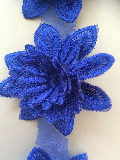 Blue -3D flower appliqué lace Craft