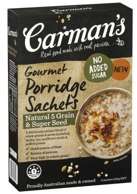 Carman's Gourmet Porridge Sachets Natural 5 Grain & Super Seed, 8-Pack (320g)