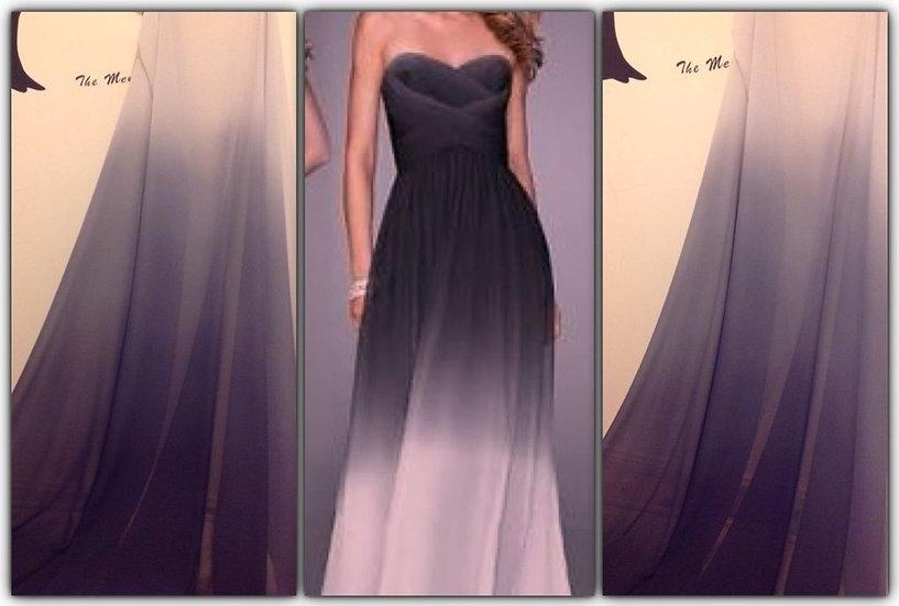 Ombre gradient black/white chiffon fabric