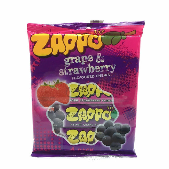 Zappo Sour Grape & Strawberry Fruit Flavoured Chews 20 bars x 26g