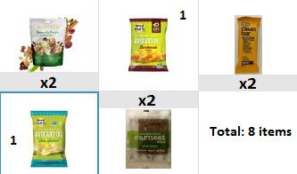 Snack box: fruit nut trail mix, apple ginger bar, banana bread, avocado oil chip