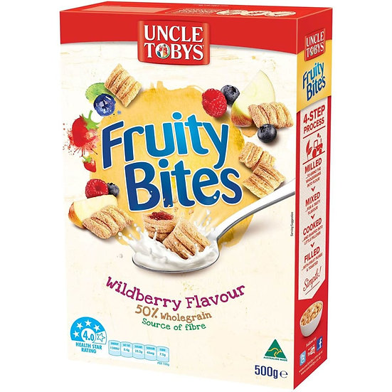 Uncle Tobys Cereal Fruity Bites Wildberry 500g