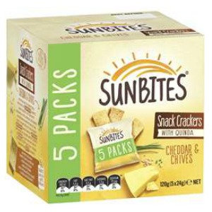 Sunbites Cheddar & Chive Snack Crackers With Quinoa 5 Pack