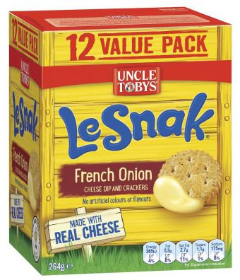 Uncle Tobys Le Snak French Onion Cheese Dip & Crackers 12 pack