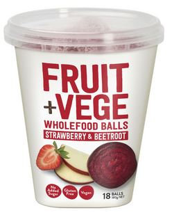 Tasti Fruit & Veg Wholefood Balls Strawberry & Beetroot 180g | Great snack