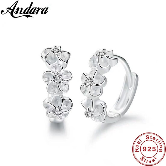 New 925 Sterling Silver Earrings Small Flower Round Earrings Charm Jewelry Gift