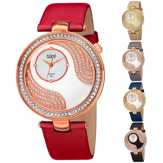 Women's Burgi BUR155 Diamonds Mother Of Pearl Dial Crystal Bezel Leather Watch