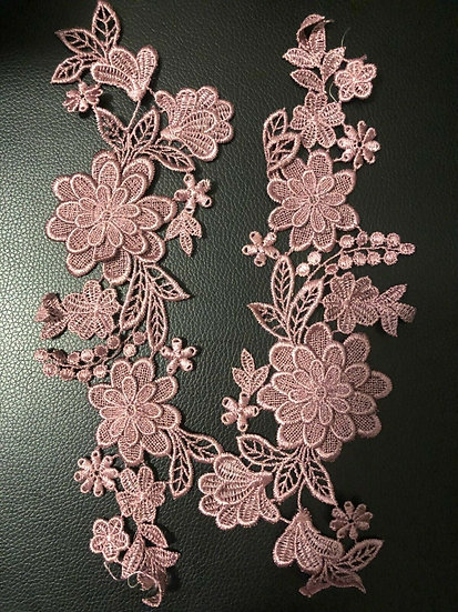 Dirty Pink ~ 3D FLORAL VENISE LACE APPLIQUE SEWING EMBELLISHMENTS CRAFT